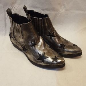 7 For All Mankind Rockstar Pewter Booties Size 10